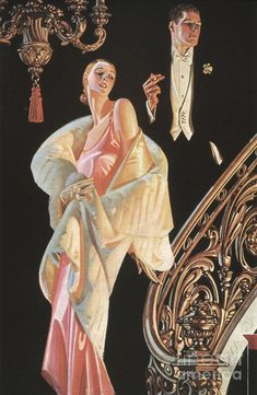 Descending The Stairs. Stunning Art Deco by DandDDigitalDelights Fantastic illustration from the jazz age! it is perfect for framing, cards, bookmarks, scrap-booking--the possibilities are amazing. The image is approx. Art Deco Illustration, American Illustration, Art Vintage, Vintage Prints, Jc Leyendecker, Mode Poster, Flapper, Arrow Shirts, Shabby Chic Pink
