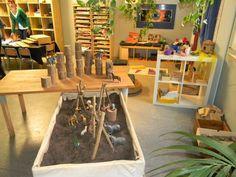 Inviting spaces for children! Such an interesting mix of Reggio & Montessori.