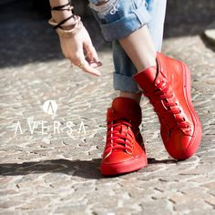 Kammi Sneakers Pelle rosso - Aversa Shoes S.