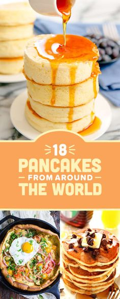 Here Are 18 Pancake Recipes From All Over The World Pancake Toppings, Pancake Dessert, Breakfast Dessert, Pancake Flavors, Pancake Art, Morning Breakfast, Savory Crepes, Breakfast Dishes, Breakfast Recipes