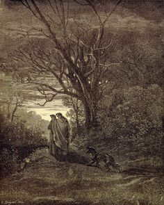 """""""Behold the beast, for which I have turned back; Do thou protect me from her, famous Sage.""""  Inferno: Dante turning from the she-wolf. Creator: Doré, Gustave Date: c.1868"""