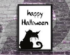Happy Halloween Print  Halloween Printable Decor  Halloween Halloween Printable, Halloween Poster, Halloween Prints, Halloween Signs, Halloween Cat, Happy Halloween, Halloween Decorations, Etsy Handmade, Cat Art