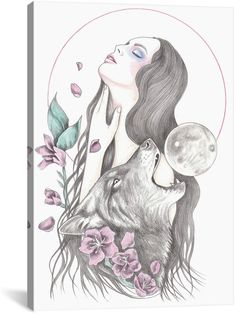Icanvasart Sun Moon By Andrea Hrnjak Pencil Art Drawings, Art Sketches, Muse Kunst, Wolf Artwork, Lion King Art, Tattoos For Women Half Sleeve, Moon Drawing, Muse Art, Crayon