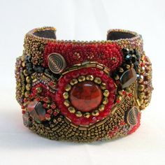 Firelight Bead Embroidered Cuff Bracelet by beadsandblooms on Etsy, $145.00