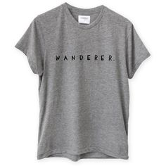WANDERER TEE GREY SHOP ($49) ❤ liked on Polyvore featuring tops, t-shirts, shirts, gray t shirt, gray top, cotton tee, t shirts and grey shirt