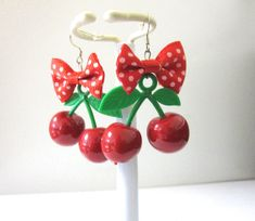 Cherry Earrings Polka Dot Bow White Red by sweetie2sweetie on Etsy