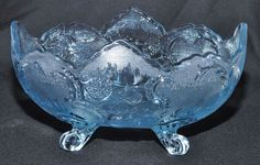 Beautiful Vintage Light Blue Depression Glass Bowl, Footed, Scalloped Edge