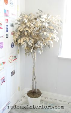 Trash to Treasure.  Makeover an old Ficus Tree with CeCe Caldwell's 100% Natural Chalk + Clay Based Paints, Metallic Wax and Metallic Spray Paint.  Super Easy project. REDOUXINTERIORS.COM FACEBOOK: REDOUX INSTAGRAM: REDOUXINTERIORS