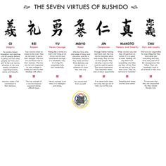 The seven virtues of Bushido #japan #japanese