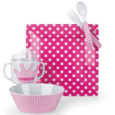 Mud Pie Baby Little Princess Polka-Dot, Stripe and Crown Plate, Bowl, Cup, Fork, and Spoon Feeding Set, Pink Mud Pie,http://www.amazon.com/dp/B003EIKXPM/ref=cm_sw_r_pi_dp_3LNftb144AB19WFM