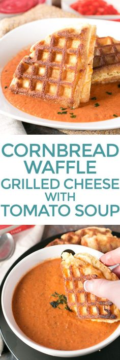 Cornbread Waffle Grilled Cheese Sandwich with Tomato Basil Soup – Cake 'n Knife