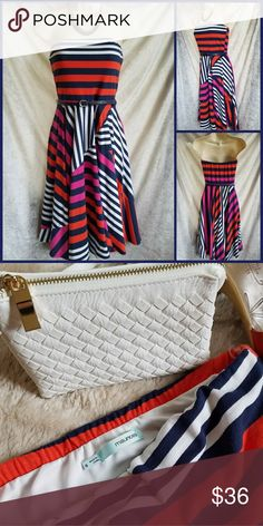 """Strapless Tube Belted Flare Striped Midi Sun Dress 🌞EUC dress by Maurices may have been worn just once, if that!🌞 I LOVE the graphic navy, white, hot pink & tomato red patchwork stripes😍💕💓 Lined bodice. Pair w/a floppy wide-brim hat, white clutch and strappy heels!👡  Unstretched: elastic top is 13"""", waist 13.25"""", bodice length (side seam) 8.5"""", skirt length 24"""". 🌟Matching navy blue belt is included!🌟  Shell 78% polyester, 19% rayon, 3% spandex. Lining 100% polyester.  🛍Make an…"""