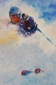 skiing watercolor paintings - Google Search