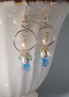 Gold hoop earrings – Gold gemstone earrings – Gold jewellery – Bohemian jewellery – Gifts under 30 – Bridesmaids gift – Bridal jewelry by Mishalijewellery on Etsy