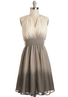 In Gradient Demand Dress - Tan / Cream, Ombre, Cutout, Party, A-line, Sleeveless, Spring, Better, Long, Chiffon, Woven, Grey