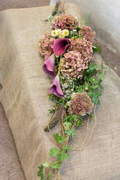 Spray tribute for woodland burial with hydrangea, calla, sedum, grasses and seasonal foliage - Clare Kenward Flowers Funeral Flower Arrangements, Funeral Flowers, Wedding Flowers, Flower Arrangement Designs, Grave Decorations, Woodland Flowers, Funeral Tributes, Calla, Felt Pictures