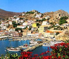 Hydra, Greece  (there are no cars on this island, only boat taxis, bicycles and donkeys)