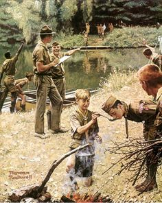 """""""Come and get it"""" Norman Rockwell, I remember my Scout Manual had this on the front cover! Norman Rockwell Prints, Norman Rockwell Paintings, Boy Scouts, Scout Mom, Peintures Norman Rockwell, The Saturdays, Scouts Of America, American Artists, Belle Photo"""