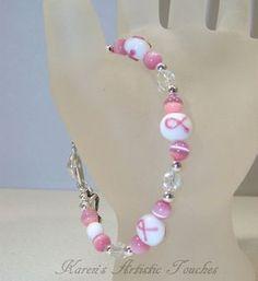Pink Ribbon Breast Cancer Awareness Beaded Bracelet White