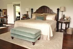 for the love of a house: the master bedroom: details The wall color is Benjamin Moore's Titanium OC-49 in eggshell finish, trim is Benjamin Moore's White Dove in Latex Stain Impervo.