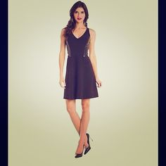 Leather panel dress Flattering A-line dress with leather panels on each side. Never been worn. Rebecca Taylor Dresses