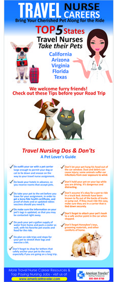 Infographics with Tips for travel nurses with pets. http://www.americantraveler.com/travel-nursing-blog/index.php/travel-nurse-careers-with-pets/