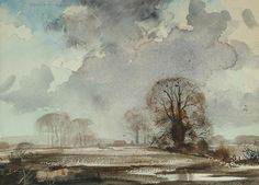 Rowland Hilder (British, Winter landscape with dark clouds signed in pencil, watercolour 10 x 14 in. Watercolor Painting Techniques, Watercolor Landscape Paintings, Watercolor Drawing, Winter Landscape, Acrylic Art, Tree Art, Art Techniques, Architecture Art, Photos