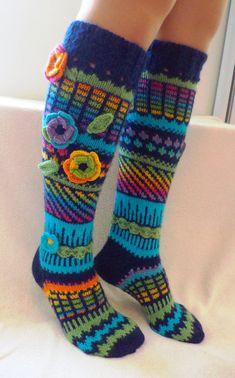 This item is unavailable Wool socks Hand knit knee socks handknitted socks flower Wool Socks, Knitting Socks, Hand Knitting, Knitting Patterns, Crochet Socks Pattern, Crochet Slippers, Knit Crochet, Rainbow Socks, Knee Socks