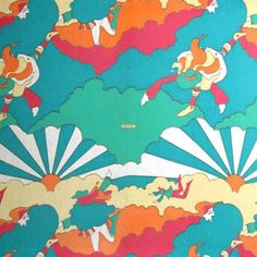 peter max fabric, 60's fabric, pop fabric