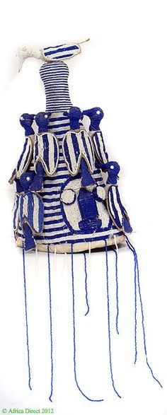 Yoruba Beaded Crown Adenla Nigeria Blue White African