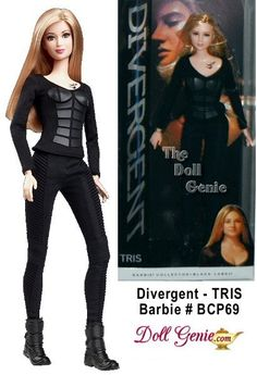 DIVERGENT - TRIS Barbie Doll - The future belongs to those who know where they belong. Tris doll wears her Dauntless training outfit comprised of a long-sleeve shirt with leather panels, matching pants and short coiled boots. The shirt reveals a glimpse of her tattoo with three ravens representing the three family members she left behind. Designed by Bill Greening - Less than 21600 worldwide