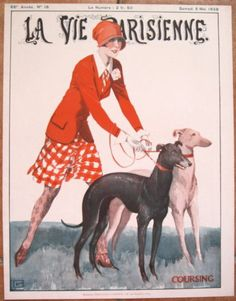 LEONNEC 1928 La Vie Parisienne Print ART DECO FLAPPER GIRL w GREYHOUND DOGS