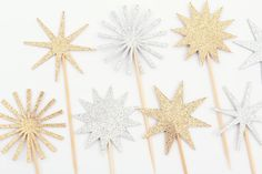 Gold and Silver Star Cupcake Toppers / Gold and by MakeItMerryShop