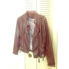 ISO Brown Faux Leather Jacket! Small or XS The second two pics are hollister brand, I don't know about the first. I don't really care about the brand as long as the jacket is brown, in good condition, and is in this style. I prefer that the jackets are $30 or less ;) also please let me know if the person likes to trade or will negotiate if you know  thank you to everyone who helps me with finding this! Jackets & Coats