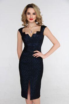 Платье футляр черное с синим блеском
