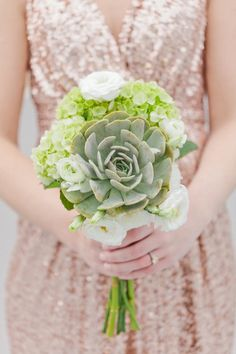 Chic rooftop wedding styled shoot from Jennifer Blair Photography with a glitter dress and amazing bouquet! Bridesmaid Flowers, Bridal Flowers, Brides And Bridesmaids, Wedding Bouquets, Bouquet Flowers, Boutonnieres, Green Wedding, Floral Wedding, Succulent Bouquet