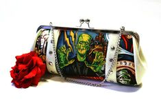 Monster Movie Clutch with Your Choice of Vinyl, Psychobilly Horror Halloween Bag - So in love.....