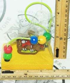 """WIRE HORSE MAZE GAME COLORFUL WOODEN CHILDREN EDUCATIONAL 4.5"""" PORTABLE TOY NEW #Momentum"""