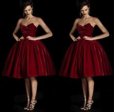Cheap Sweetheart Knee Length A Line Burgundy Homecoming Party Dresses Sleeveless Velvet Custom Made Cocktail Gowns Plus Size