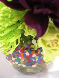 DIY Fun Floral with Rainbow Confetti Deco Dots ™ Floral Arrangement #rainbow_color #floral  #arrangement