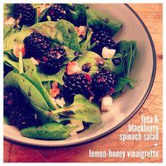 blackberry & feta spinach salad with lemon-honey vinaigrette // recipe in link // #recipe #blog #healthy