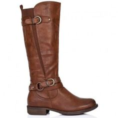 Buy STRUCK Flat Wide Calf Knee High Biker Boots Tan Leather Style Online