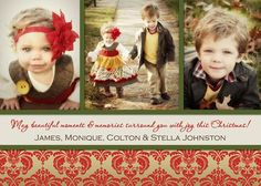 Luxe Damask Christmas Photo Card Holiday Photo Card