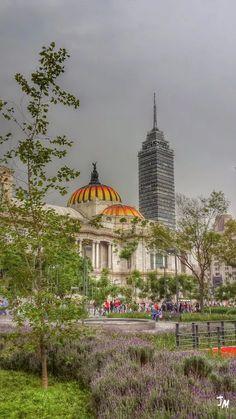 El Palacio de Bellas Artes y La Torre Latinoamericana, vistas desde La Alameda Central, Ciudad de #México. por Jesús Muñoz  The Palace of Fine Arts and The Latin American Tower, seen from Alameda Central, #Mexico City.