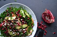 A Refreshing Winter Salad: Made With Kale, Almonds, and Pomegranate Wintersalat mit Grünkohl & Granatapfel mit Balsamico-Dressing – A Tasty Love Story Yummy Recipes, Kale Recipes, Raw Food Recipes, Vegetarian Recipes, Cooking Recipes, Healthy Recipes, Diet Recipes, Pomegranate Salad, Cranberry Salad