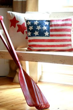 Stars and Stripe Pillow tutorial from Top This Top That