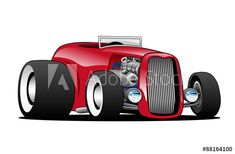 Classic Street Rod Hi Boy Roadster Vector Illustration