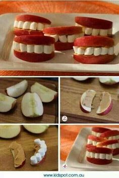 Love this healthy Halloween snack! Apples, peanut butter and marshmallows create cute sets of teeth! Just cut your apples into slices, spread on peanut butter and put marshmallows between the two slices! Buffet Halloween, Halloween Food For Party, Halloween Birthday, Holidays Halloween, Halloween Kids, Happy Halloween, Halloween Pizza, Halloween Donuts, Healthy Halloween Treats