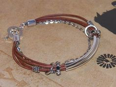 Saddle Brown Leather with Silver Tubes & Plenty of Charms Adjustable Boho Chic Jewelry for Women