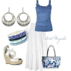 Blue Flower Top and White Maxi Skirt :) by nicole